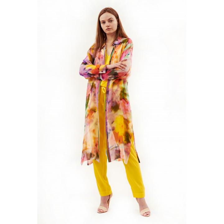 Блуза «Глициния» из натурального шелка с ярким принтом