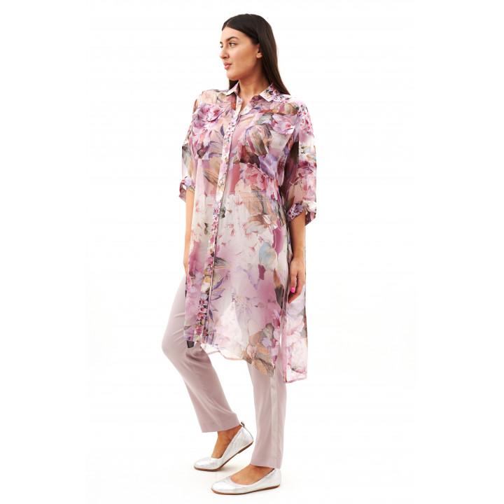 Блуза «Алиса» сиреневого цвета с цветочным принтом