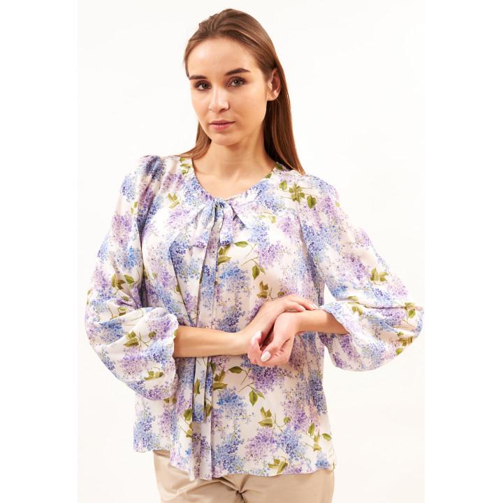 Блуза «Флора» молочного цвета