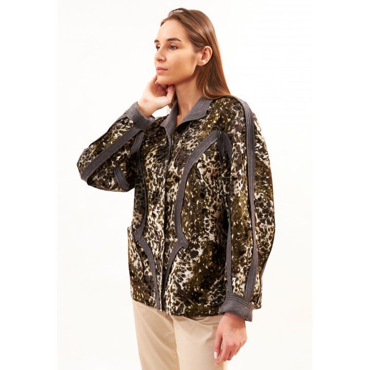Куртка «Кабри» цвет хаки, принт леопард