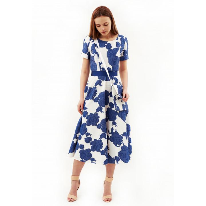 Платье «Фаенца-2» белого цвета с цветочным принтом