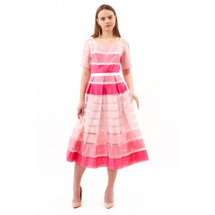 Платье «Валери» розового цвета в полоску