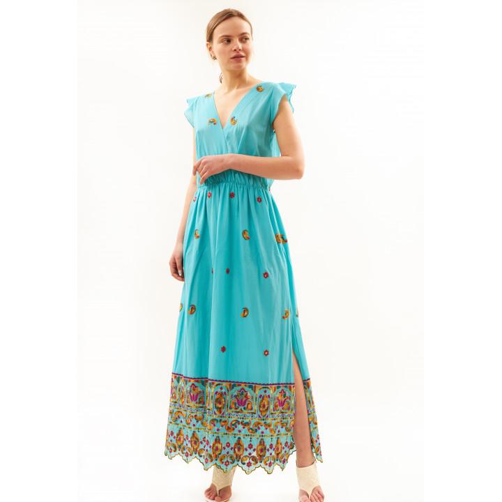 Платье «Райли» голубого цвета с вышивкой