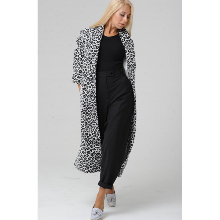 """Пальто """"Белла"""" в черный леопардовый принт"""