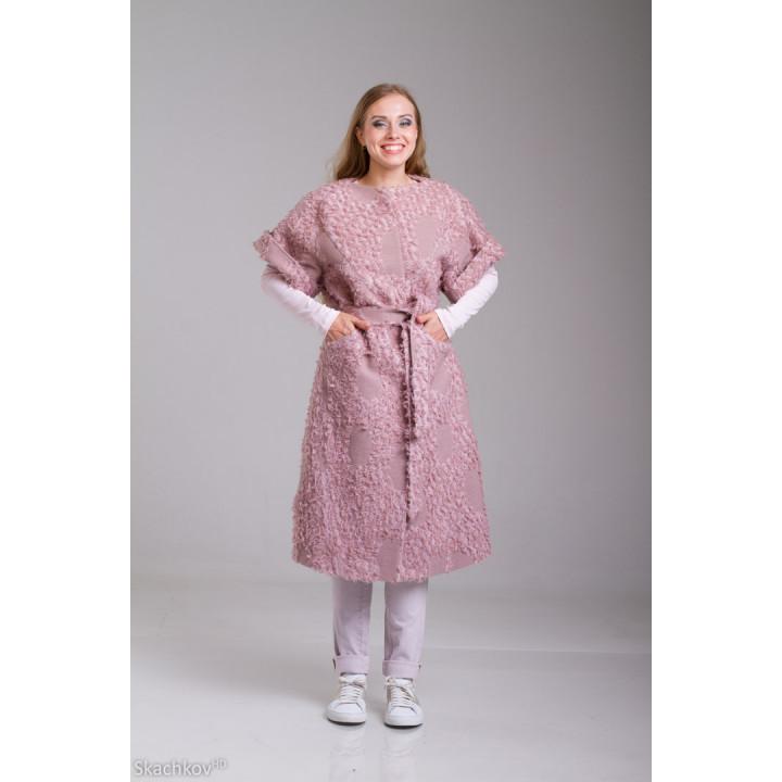 """Пальто """"Мирабэлла"""" букле розового цвета"""