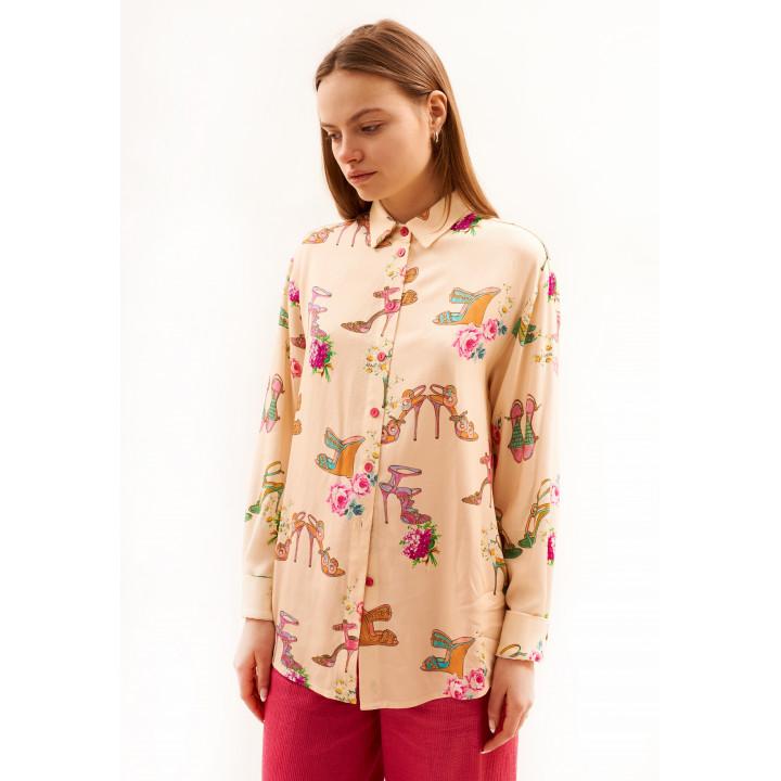 Рубашка «Китти» бежевого цвета