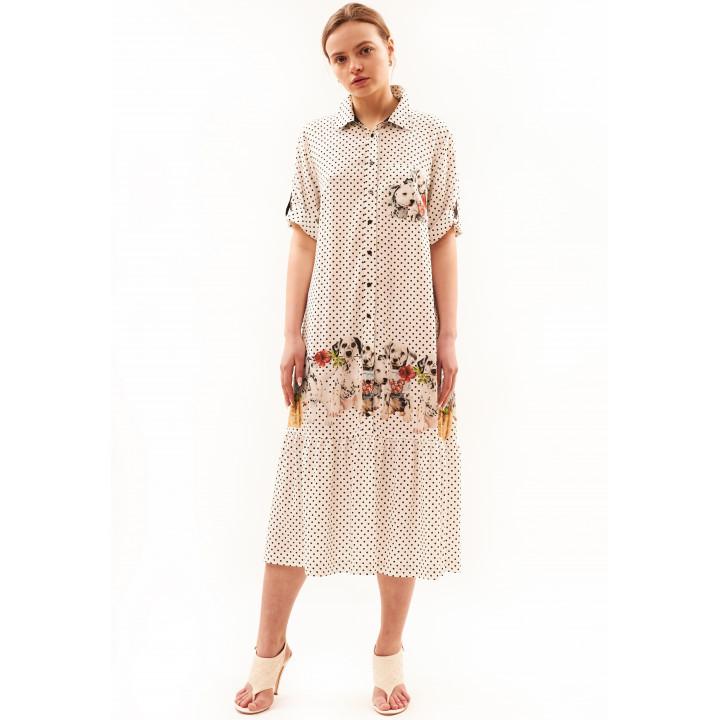 Платье «Деллма» молочного цвета в горошек