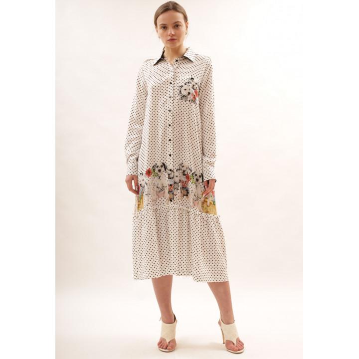 Платье «Деллма-1» молочного цвета в горошек