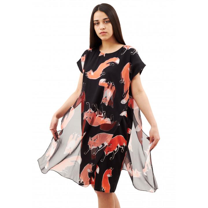 Платье «Елена» черного цвета принт лисички
