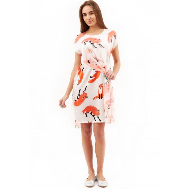 Платье «Елена» белого цвета принт лисички