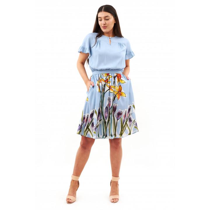 Платье «Лания» голубого цвета с цветочным принтом