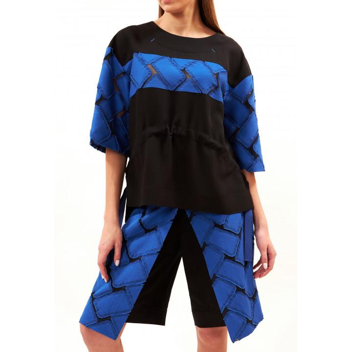 Шорты-юбка «Антонина» черно-синего цвета