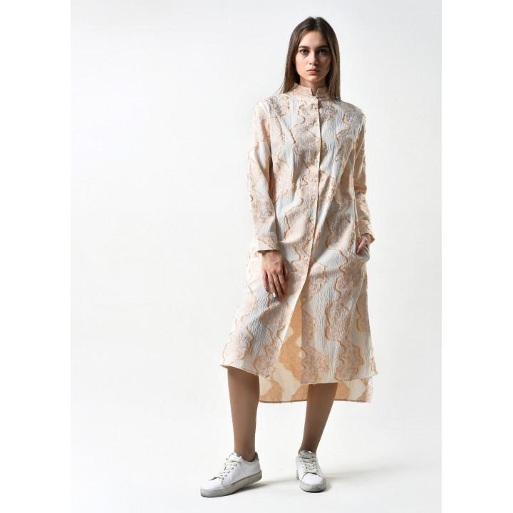 Блуза «Китти» цвета айвори в геометричный принт