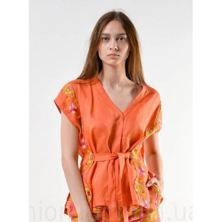"""Рубашка """"Милена"""" оранжевая с вышивкой"""