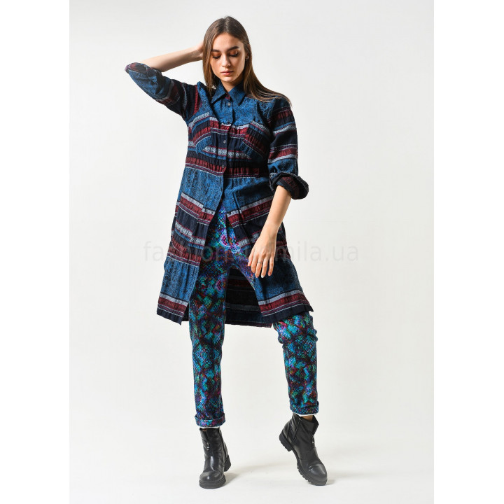 """Рубашка """"Луиза"""" синего цвета в полоску"""