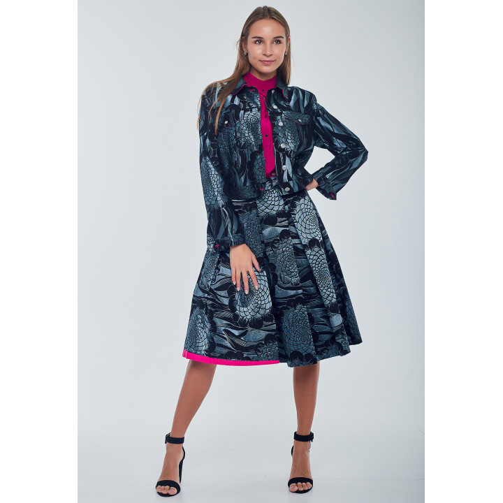 "Куртка ""Вэнди"" черно-бирюзового цвета"