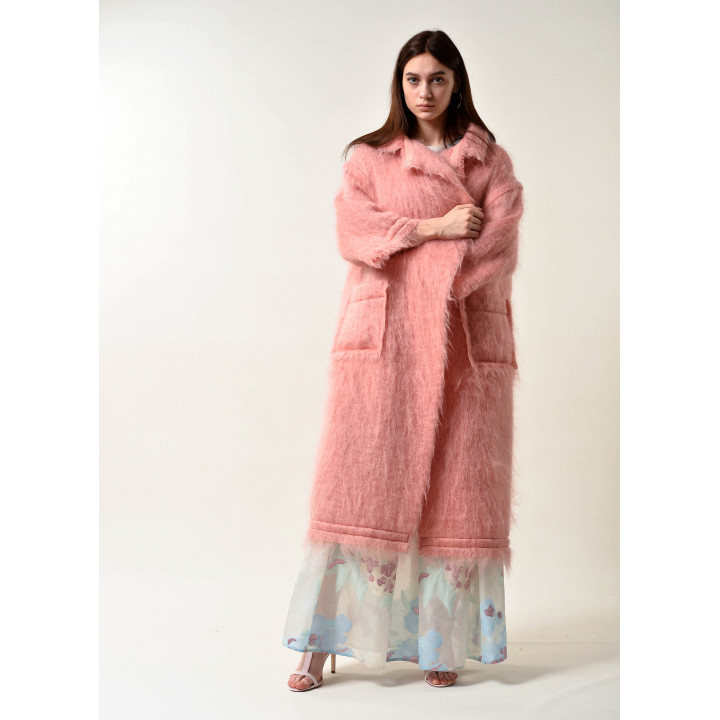 """Пальто """"Беверли"""" персикового цвета"""