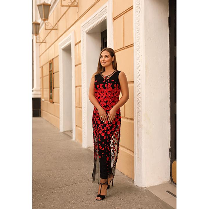 Платье «Рианна» черного цвета расшитое цветами