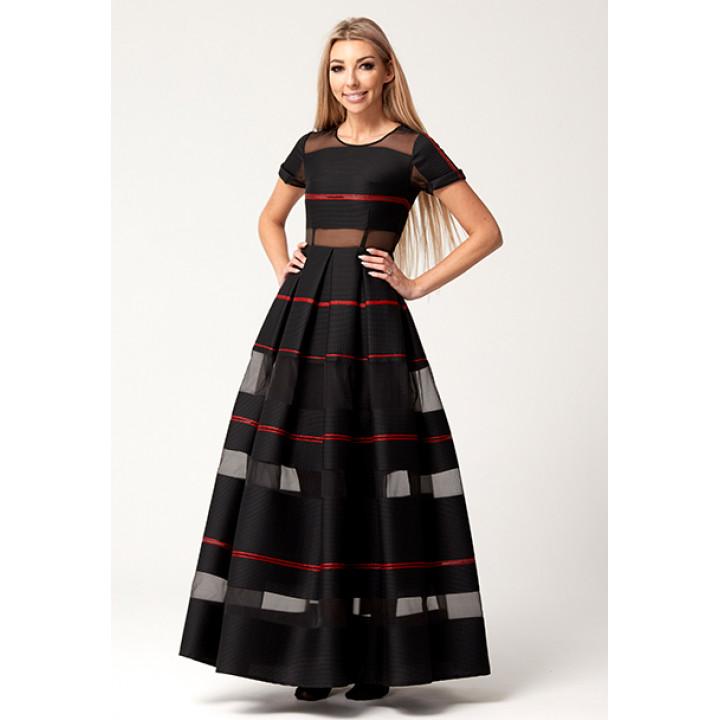 """Платье """"Валери"""" черного цвета жаккард-органза"""