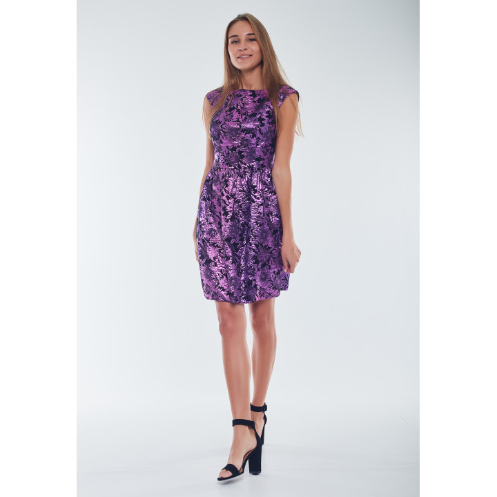 Платье «Верушка» черно-лилового цвета