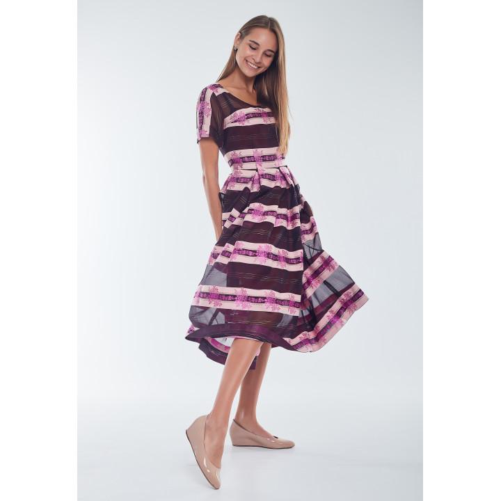 """Платье """"Валери"""" коричневое в яркую полоску"""