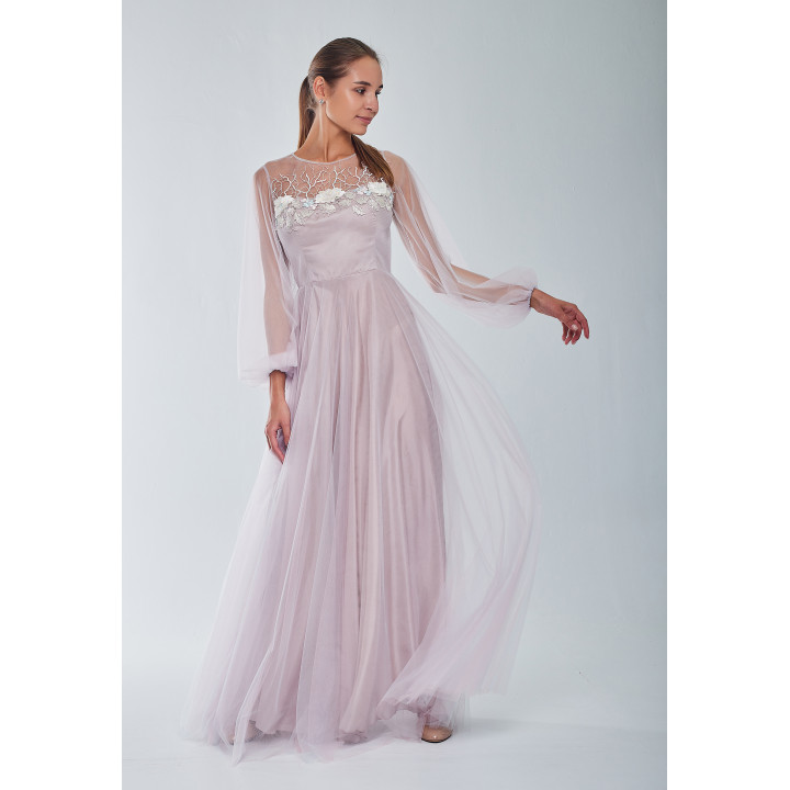 Платье «Афродита-1» пудрового цвета с кружевом макраме