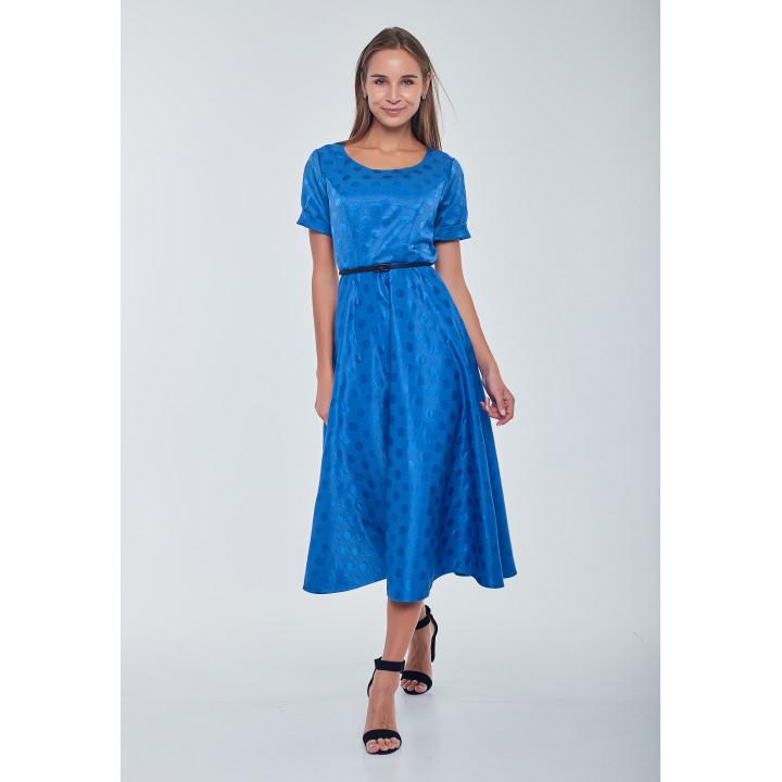 Платье «Фаенца-2» синего цвета с принтом горохи