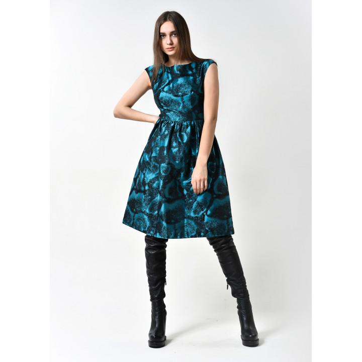 Платье «Верушка» черно-бирюзового цвета