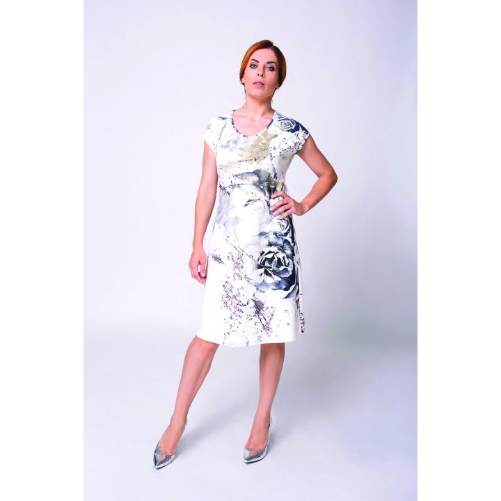 Платье «Рази-2» молочного цвета с цветочным принтом