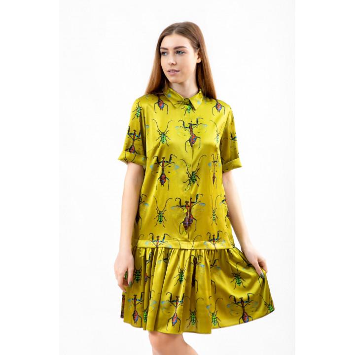 Платье «Грация» горчичного цвета принт насекомые