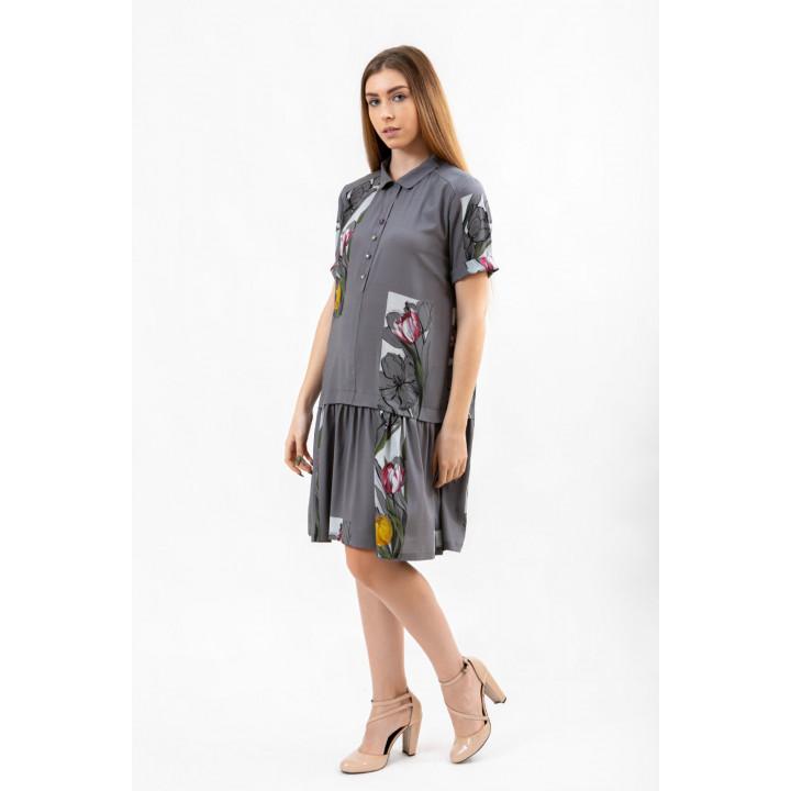Платье «Грация» серого цвета