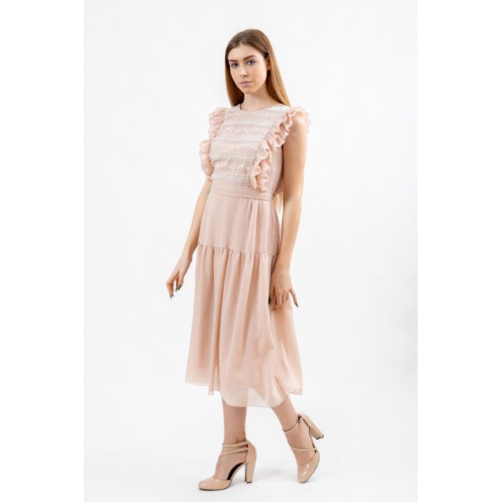Платье «Кортни» персикового цвета с кружевом