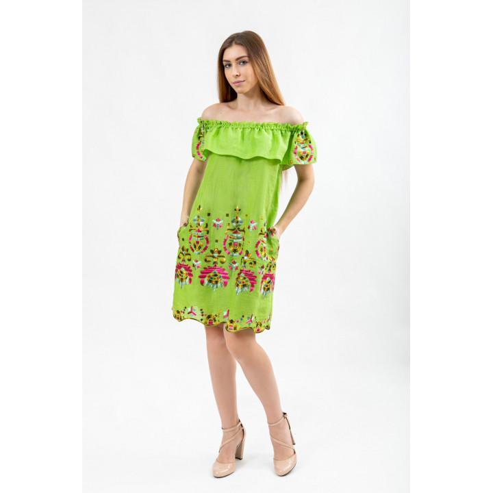 Платье «Равенна-1» салатового цвета с вышивкой