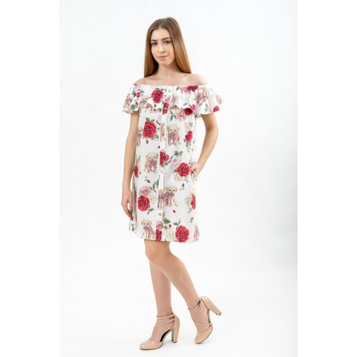 Платье «Равенна» молочного цвета с анималистическим принтом