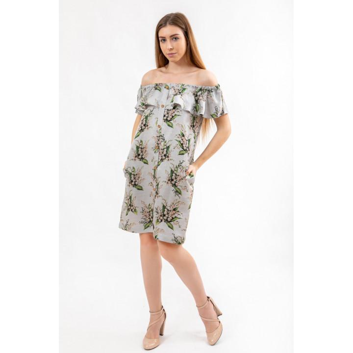 Платье «Равенна» серого цвета с цветочным принтом