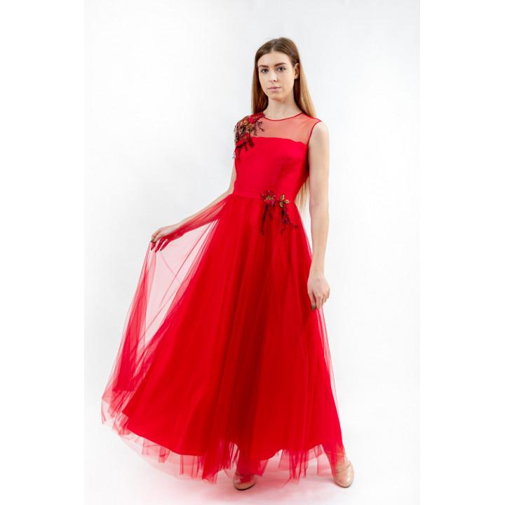Платье «Верения-1»  ярко алого цвета