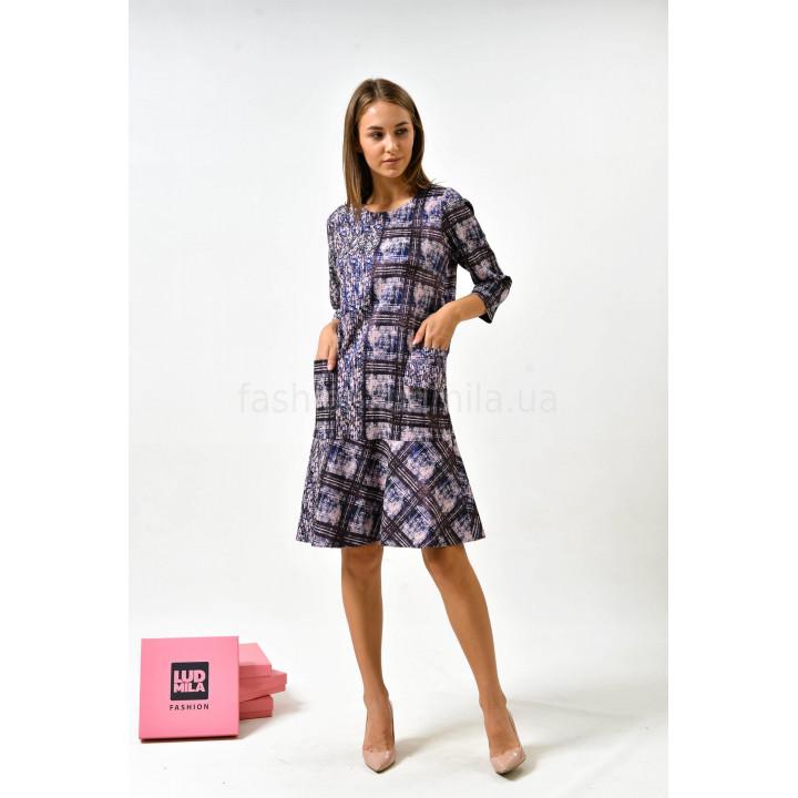 Платье «Мегги» лилового цвета с геометрическим принтом