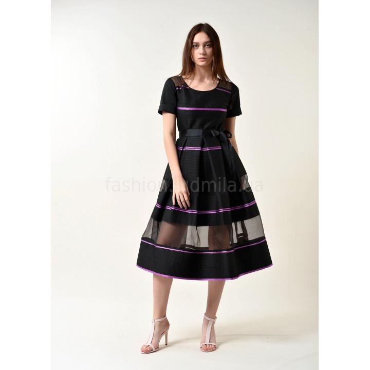 Платье «Валери» черного цвета в полоску