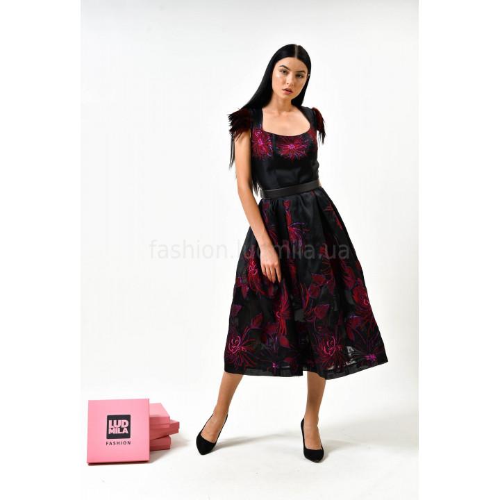 Платье «Жаннетт» черного цвета с цветочным принтом