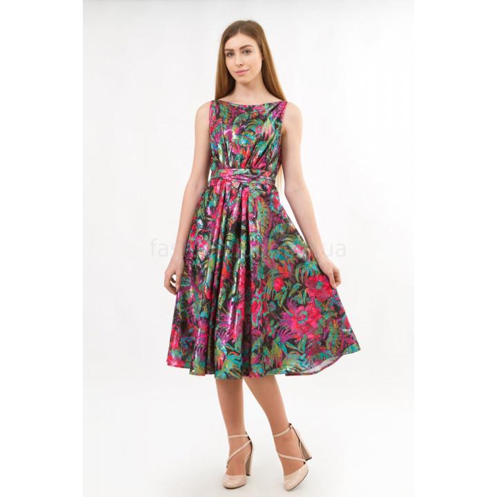 """Платье """"Брит"""" в цветочный принт с люрексом"""