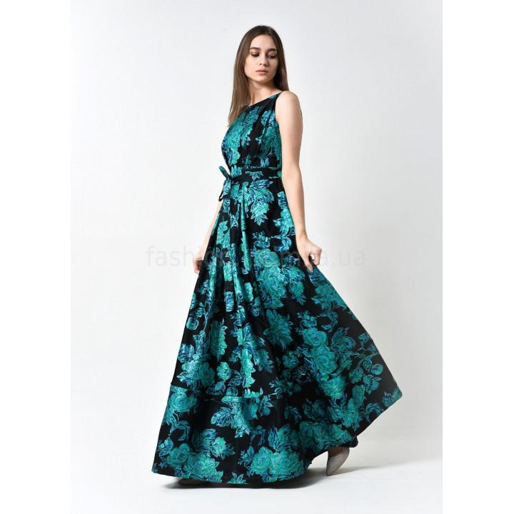 Платье «Бриана» черного цвета с изумрудным цветочным принтом
