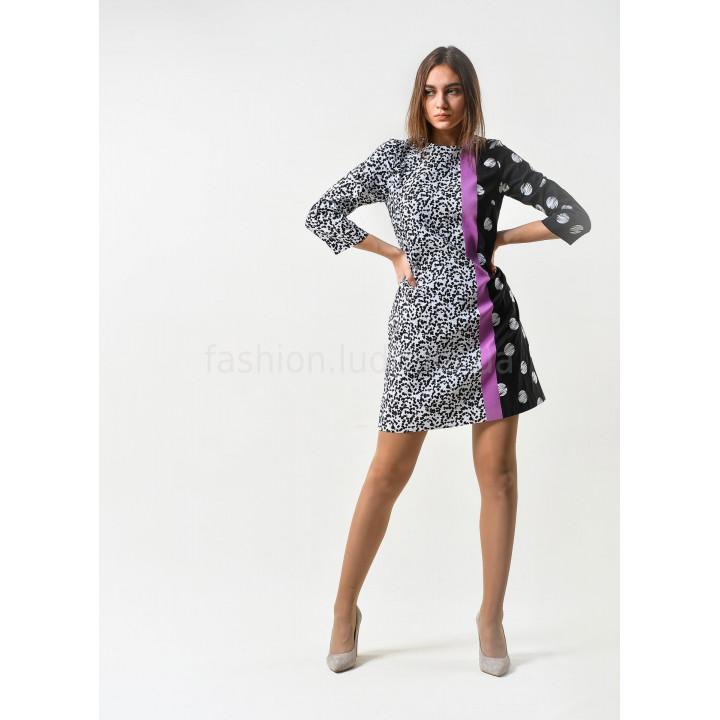 Платье «Эббиль» черного цвета с геометрическим принтом