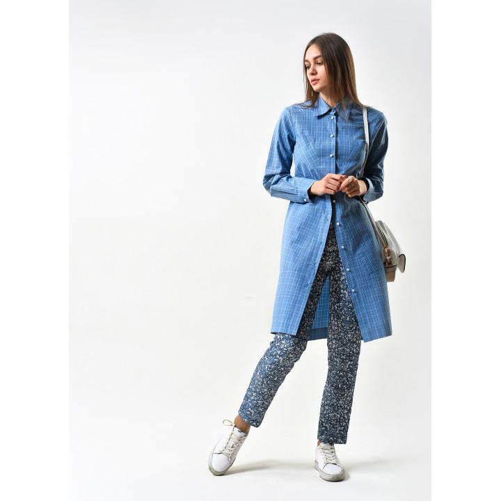 """Рубашка """"Луиза"""" синего цвета в клетку"""