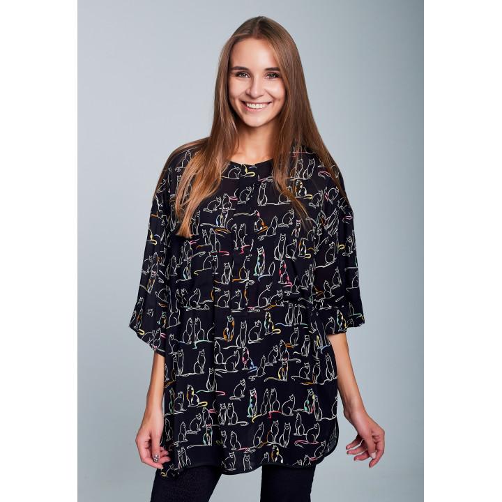 """Рубашка """"Палмер"""" черного цвета с принтом котики"""