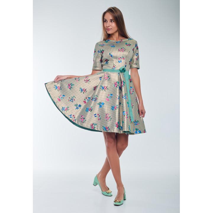 Платье «Айрин» цветное с растительным принтом