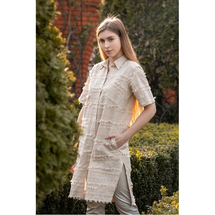 "Рубашка ""Луиза-1"" бежевого цвета с бахромой"