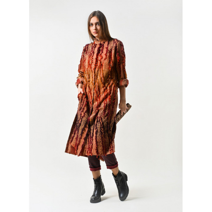 Рубашка Дейна-8 терракотового цвета с бахрамой