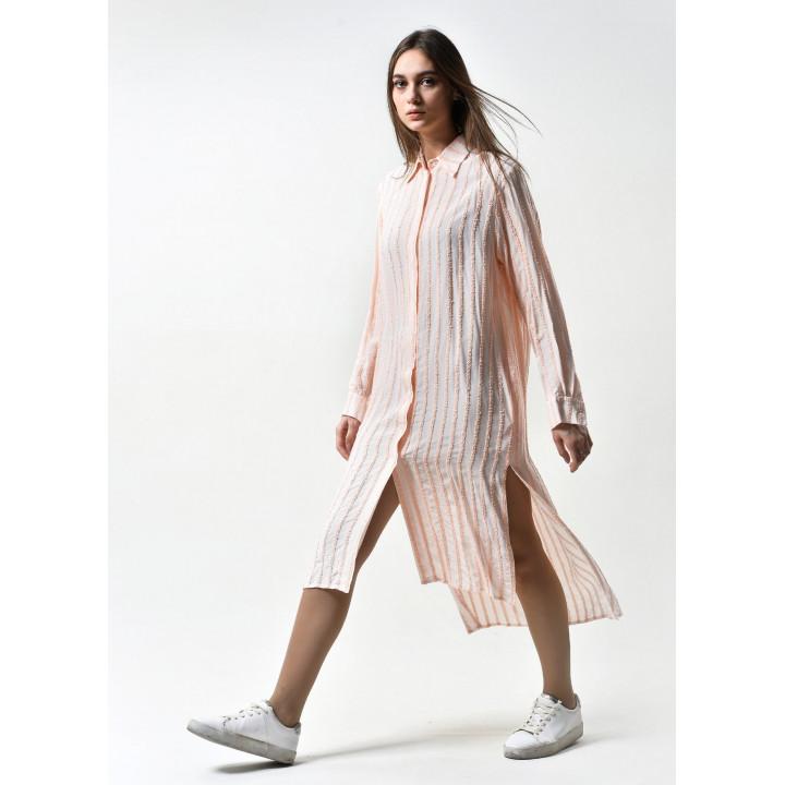 "Рубашка ""Китти"" персикового цвета в полоску"