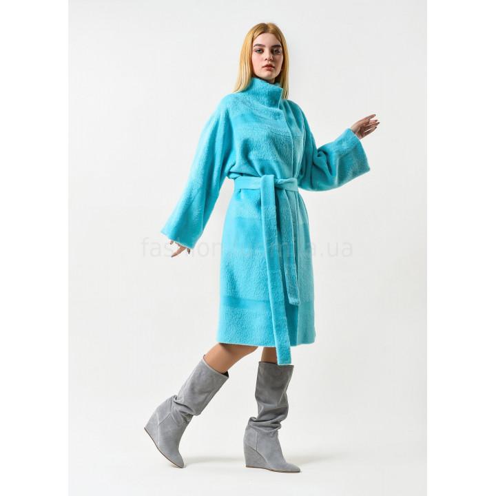 """Пальто """"Селеста""""  с альпаки голубого цвета"""