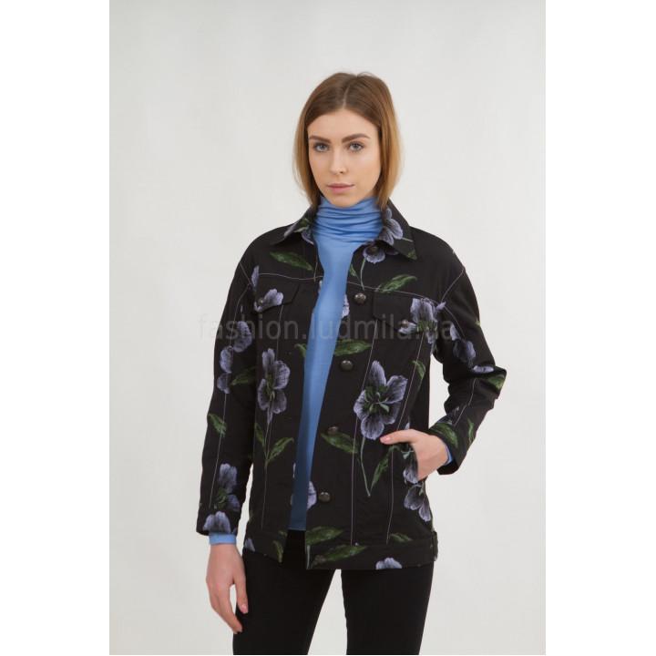 "Куртка ""Агата""  лилового цветочного принта"